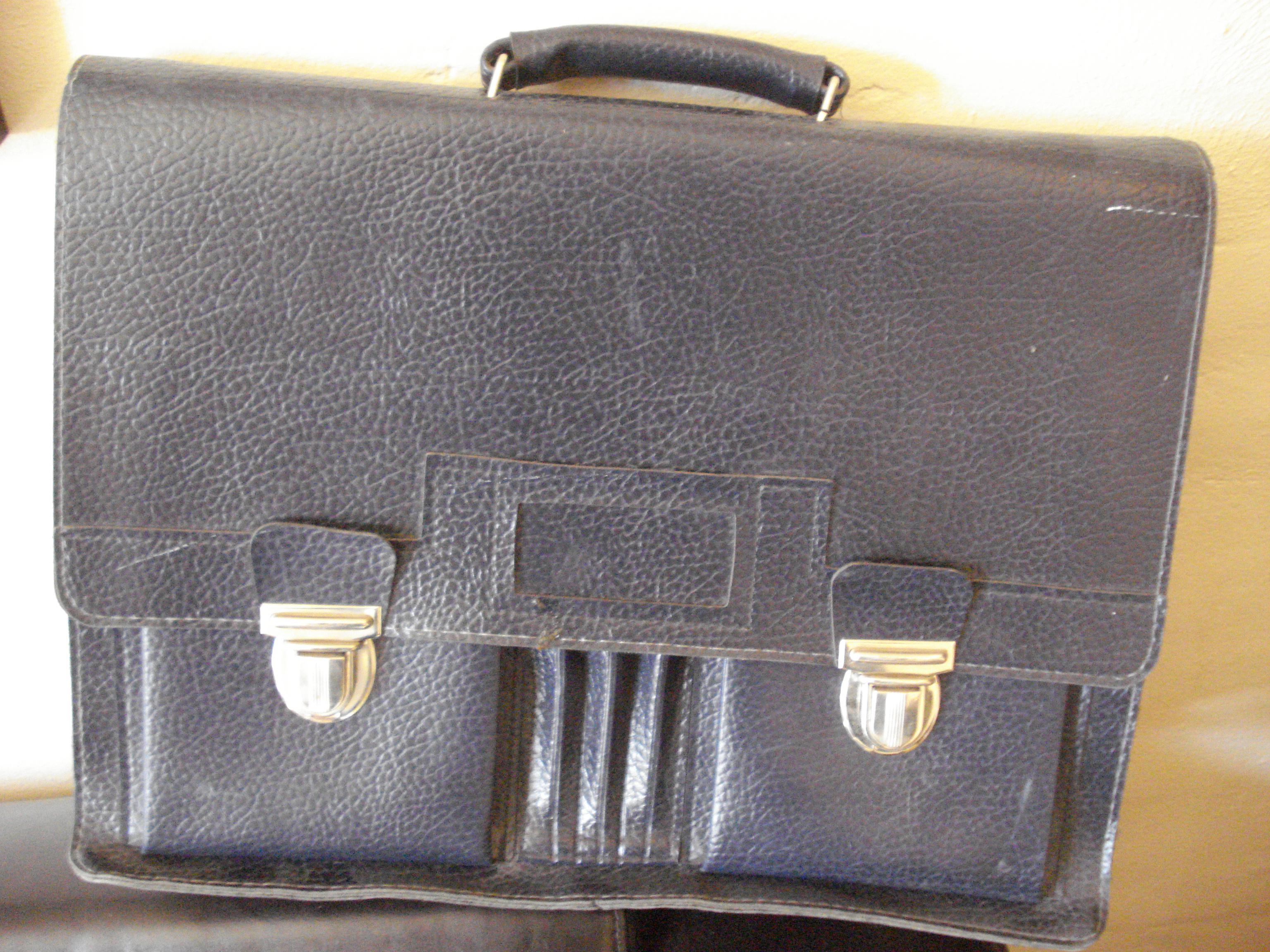 Skoletaske: læder 1960'erne