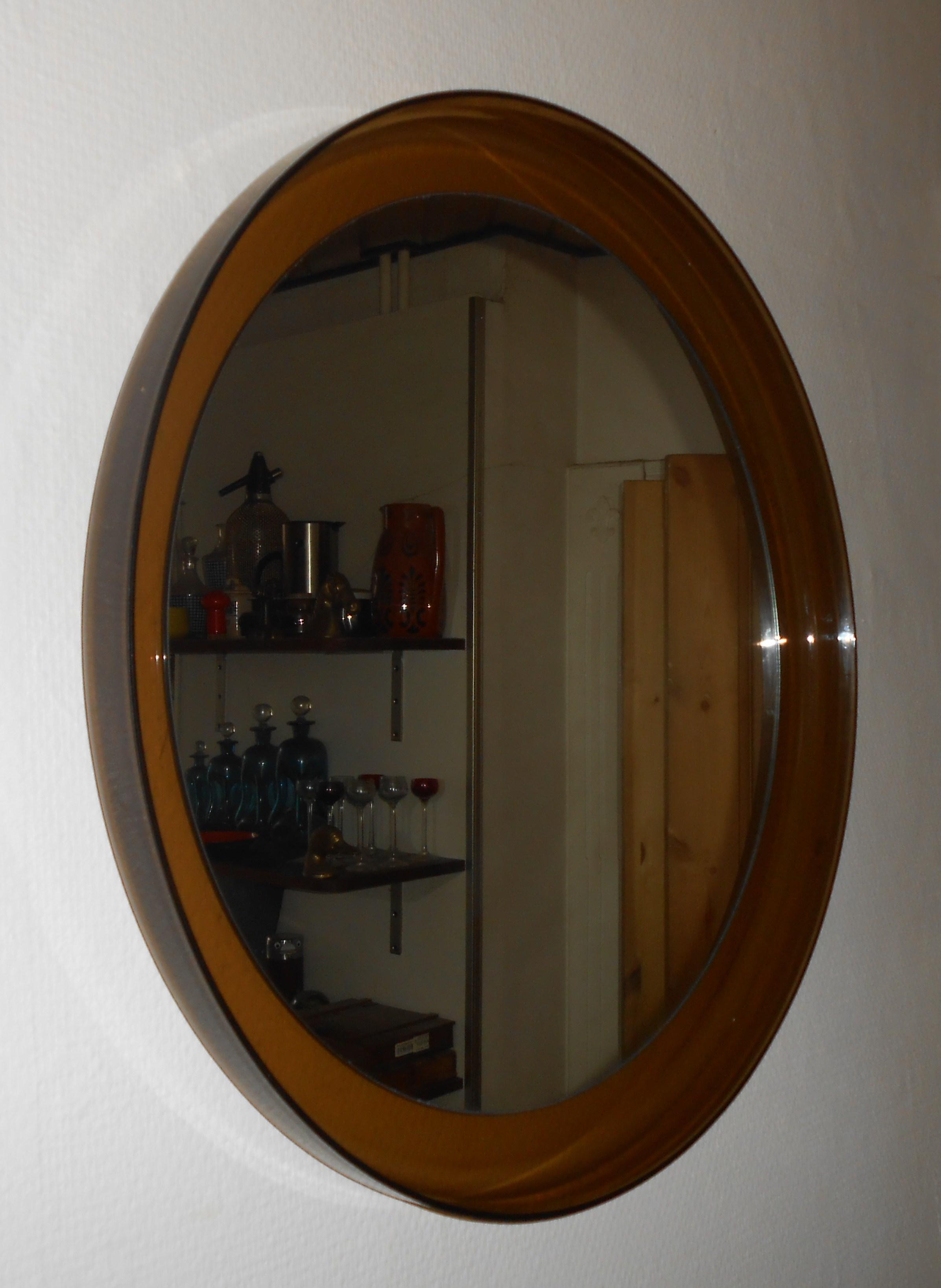 rundt træ spejl